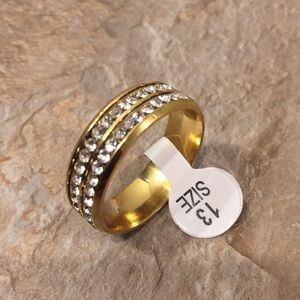 Sz 13 Fashion Ring. Gold Tone with Clear Sapphires